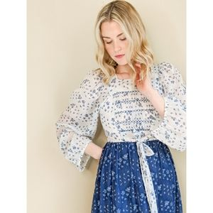 Vintage White & Blue Floral Long Prairie Dress
